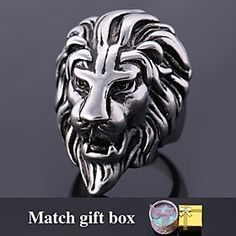 #U7 Lion Head 316L Stainless #Steel Ring Party Jewelry Domineering Strong Animal Bands Ring for Men High Quality