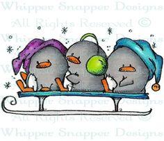 S is for Sledding - Penguins - Animals - Rubber Stamps - Shop
