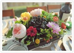 Peony, Succulent, and Bright Floral Reception Centerpieces (ltb)