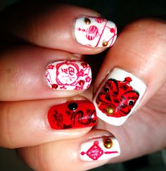 Chinese New Year Nail Art.  Used a Bundle Monster stamping plate (BM-H15) from the Holiday pack. #dragon #nailart
