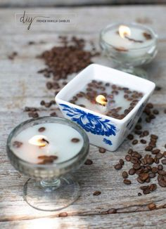 DIY French Vanilla and Coffee Candle. These beautiful DIY candles are made with coffee and vanilla beans. Love the natural smell of these. Your home will be warm and homey with these candles.