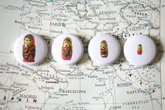 Nesting Doll 4 Pack of One Inch Buttons by xoazuree on Etsy, $5.00