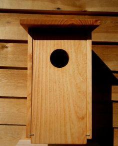 Caja nido par autillo en madera pino tratada al aceite de linaza con certificación PEFC