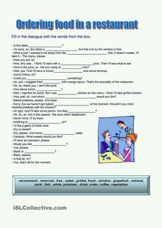 A collection of English ESL worksheets for home learning, online practice, distance learning and English classes to teach about ordering, food, ordering food Vocabulary Exercises, Food Vocabulary, English Vocabulary, English Grammar, Teaching English, Vocabulary Worksheets, Printable Worksheets, Drama Activities, English Activities