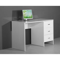 Sphere White High Gloss Computer / Laptop / Work Desk