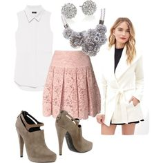 A fashion look from January 2015 featuring Theory blouses, Love 21 coats and DKNY mini skirts. Browse and shop related looks.