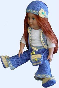 """18"""" Doll French Girl Ensemble Crochet Pattern"""
