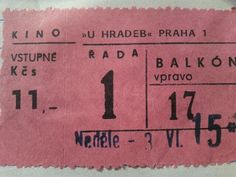 Vstupenka do kina (1984) Socialism, Childhood Memories, Retro Fashion, Czech Republic, Retro Style, Vintage, Historia, Cinema, Nostalgia