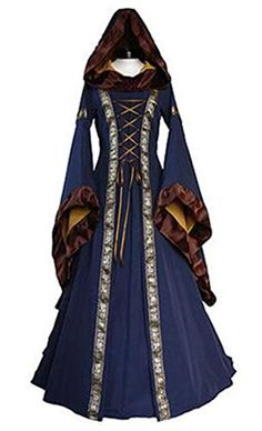 a36f46b1dd5e X-Future Womens Witch Lace Up Cosplay Victorian Hooded Halloween Gown Maxi  Dress Blue US