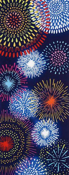 Japanese Tenugui cotton towel fabric. Beautiful fireworks, summer festival design. High quality tenugui fabrics made of soft 100% cotton cloth and hand dyed by Japanese master dyers. [ H o w T o U s e ] * towel * washcloth * dishcloth * headband / bandanna * scarf * wall hanging