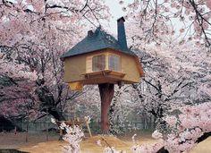 Terunobu Fujimori's Tetsu Teahouse is perched in the garden of the Kiyoharu Shirakaba Museum in Yamanashi Prefecture in Japan and offers cherry blossom admirers an incomparable bird's-eye view. Photo by Akihisa Masuda