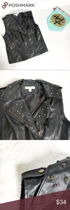 You need to add Urban Outfitters' studded black vegan leather vest to your wardrobe. Studded Leather Jacket, Leather Vest, Zippers, Fashion Tips, Fashion Design, Fashion Trends, Vegan Leather, Vests, Urban Outfitters