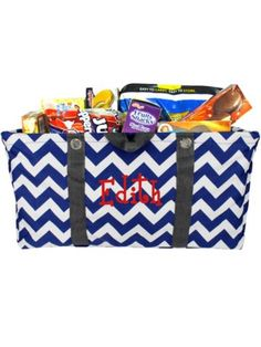 $12.25 Royal Blue and White Chevron Collapsible Haul-It-All Utility Basket