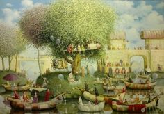 The day of tea - Painting,  70x100 cm ©2013 by Remigijus Januskevicius -            painting, oil, tea