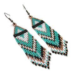 Turquoise beaded earrings Handmade earrings by HappyBeadwork