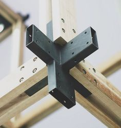 Timber and steel joint detailing. Beautiful and practical! Wood Steel, Wood And Metal, Design Lab, Wood Design, Architecture Details, Interior Architecture, Joinery Details, Timber Structure, Pallet Projects