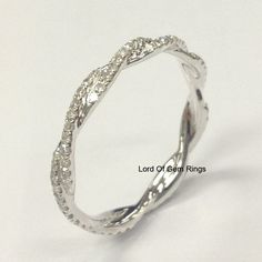 Pave Diamond Wedding Band Eternity Anniversary Ring 14K White Gold Infinity - Lord of Gem Rings - 2
