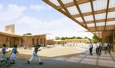 Francis Kéré Designs Education Campus for Mama Sarah Obama Foundation in Kenya,Primary School Courtyard. Image © Kéré Architecture
