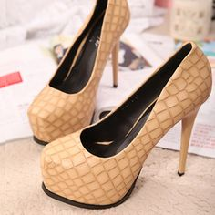 Square Toe Platform Apricot Stiletto High Heels