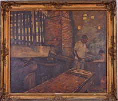 """LUIZ ALMEIDA JUNIOR- """"Rapadura"""", óleo sobre tela, 120 x 141 cm. Assinado e datado no canto i"""