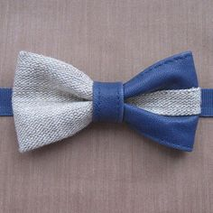 natural leather rustic bowtie linen dark blue leather gift for him #Valentine'sgift #accessory #leather