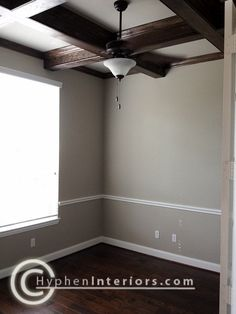 Benjamin Moore Sonora Gray  office color - like the dark floors and matching box beams