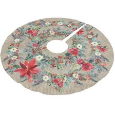 Red poinsettia watercolor rustic Christmas burlap Brushed Polyester Tree Skirt