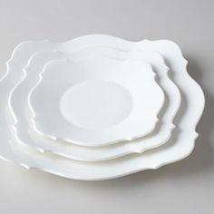 Whimsical Baroque White Dinnerware by Jasper Conran for Wedgwood at Horchow White Dinnerware, Dinnerware Sets, Modern Dinnerware, Types Of Glassware, Jasper Conran, White Dishes, Plate Design, China Patterns, Coffee Set