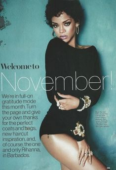 Rihanna in playful black and white looks for Glamour Magazine November 2013