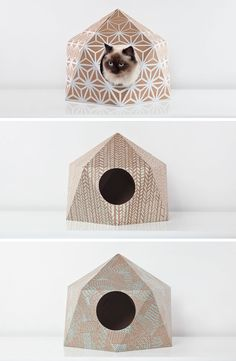 11 Cat Caves That Prove Cat Beds Can Be Stylish // Cardboard domes with fun patterns on them offer your cat a safe and stylish spot to snooze.