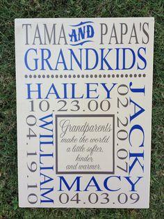 Grandma & Grandpa's Grandkids Personalized Name Wood Sign - Grandparents Make The World A Little Softer, kinder and warmer
