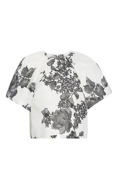 Open Back Painted Rose Top by Monique Lhuillier for Preorder on Moda Operandi