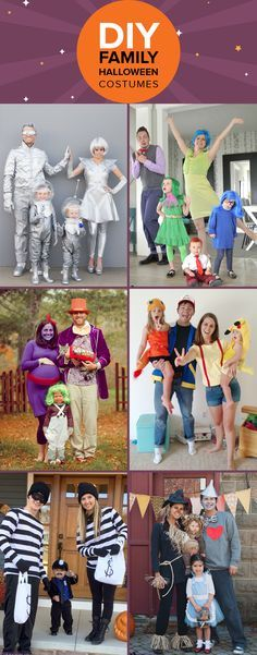 Whether you have a family of three, four or five, try one of these DIY Halloween costume ideas that include adults, babies, toddlers and teens.