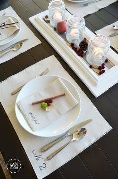 Thanksgiving table centerpiece idea from The Idea Room - or maybe anytime this autumn - so simple and refreshingly white