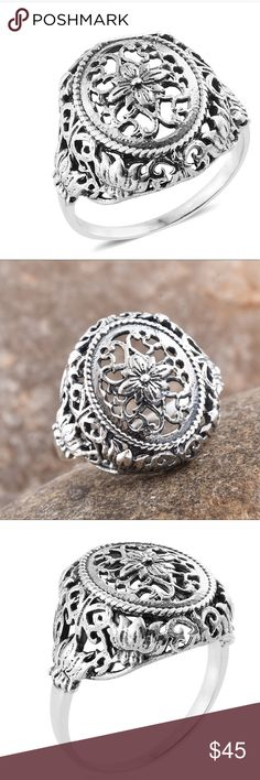 NEW Flower 925 Sterling Silver Ring Size 7 NEW Retail $99.99 Artisan 925 Sterling Silver Ring (Size 7.0) (5.1 g) 10 Set yourself apart from the crowd as you add to your mysterious allure with the rustic charm of this ring. Detailed w/ filigree and floral motifs, the piece is in sterling silver. Boho Gypsy hippie festival business work casual attire daily wear. Jewelry lovers earrings bracelets necklaces rings are all in my closet! Artisan Jewelry Rings
