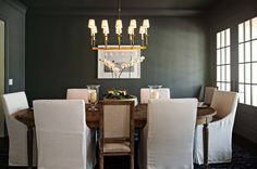 Black Dining Room Ceiling and Walls with Ivory Dining Chairs - Transitional - Dining Room Luxury Interior Design, Home Interior, Modern Interior, Interior Plants, Brown Interior, Bathroom Interior, Woven Dining Chairs, Dining Table, Palette