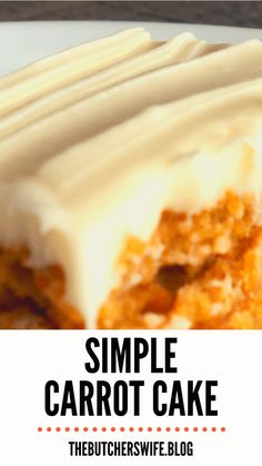 Yummy Carrot Cake is easy to make! It is simple but delicious! A moist carrot cake with a sweet and creamy cream cheese frosting! Carrot Cake Bars, Moist Carrot Cakes, Best Carrot Cake, Easy Cake Recipes, Frosting Recipes, Dessert Recipes, Desserts, Banana Recipes, Bread Recipes