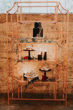 modern geometric cake table ideas - https://ruffledblog.com/intimate-modern-romantic-wedding-celebration-the-reception
