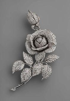 Diamond Rose Brooch, V. Nikolaev, Russia, 1974, diamonds, platinum, 10 x 15 cm; 222.11 g