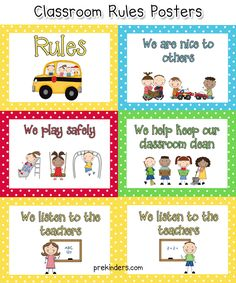 Here are some printable rules posters you can use in your classroom. Classroom Rules for Pre-K and Preschool children should be short, and easy to understand by a young child. Preschool Classroom Rules, Classroom Behavior, Classroom Management, Preschool Activities, Classroom Ideas, Preschool Procedures, Shape Activities, Behavior Management, Class Rules Poster