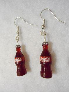 Coca Cola bottles dangle Earrings hooks by Margyko on Etsy, $6.00 soda miniature drink charms jewelry.