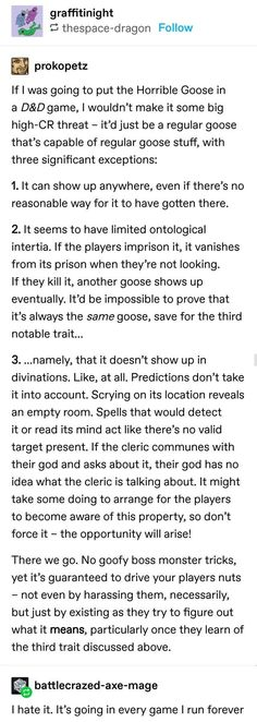 Is it weird that when I saw the word goose, my first thought was untitled goose game. Dungeons And Dragons Game, Dungeons And Dragons Homebrew, Writing Tips, Writing Prompts, Tumblr Funny, Funny Memes, Dnd Stories, Dnd Funny, Dragon Memes