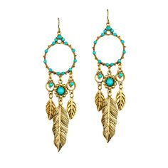 Dreamcatcher Earrings with golden feathers and turquoise colored details. So cute!
