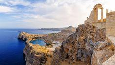While on the Greek island of Rhodes, you should make time to visit the Acropolis of Lindos. Kos, Rhodes Beaches, Greek Town, Greece Rhodes, Greece Holiday, Santorini Greece, Greek Islands, Beautiful Beaches, Corfu