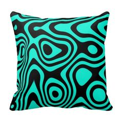 Turquoise and Black Retro Abstract Design Pillows