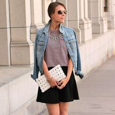 Outfit Idea: black skater + grey top + jean jacket + sparkle.