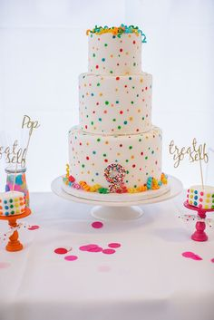 The white color palette set amongst all of the fabulous colors looks spectacular and I love the cute cakes, sweets, and colorful drinks! This party is full of ideas that are sure to amaze and delight!