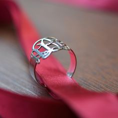 Sterling Silver Monogram Ring. $48.36, via Etsy.