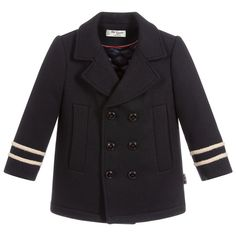 Boys stylish navy blue pea coat with a nautical braided wool trim, by Spanish luxury brand, Pili Carrera. Made in soft wool, it has a padded, quilted lining for extra warmth. Dubai Fashion, Blue Wool, Japanese Fashion, Kids Wear, Formal Wear, Luxury Branding, Navy Blue, Pea Coat, Suits