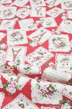 Vintage-Retro-Cotton-Linen-Fabric-Pretty-Rose-Doily-Eiffel-Tower-Stamps